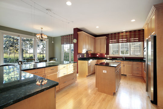 Kitchens With Wood Cabinets Bamboo Floor And Blue Green Walls